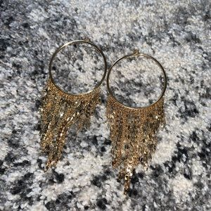 Gold dangle hoop earrings !